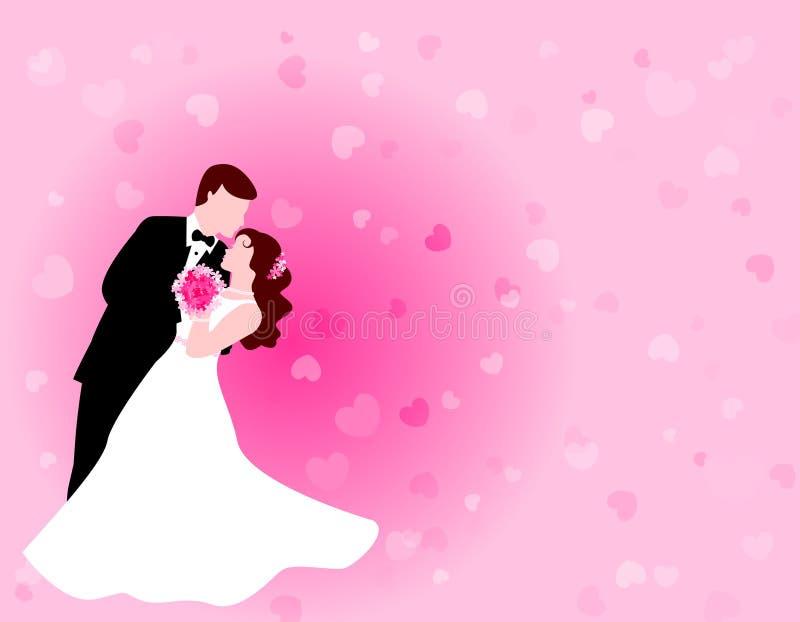 Tanzenpaare mit rosafarbenem Hintergrund lizenzfreie abbildung