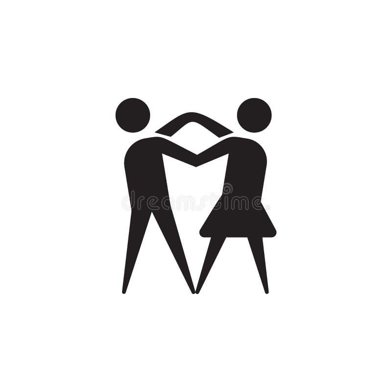 Tanzenpaarikone Tanzelemente Erstklassige Qualitätsgrafikdesignikone Einfache Liebesikone für Website, Webdesign, bewegliche APP, vektor abbildung