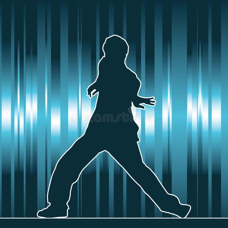 Tanzenschattenbild, Hip-hop lizenzfreie abbildung