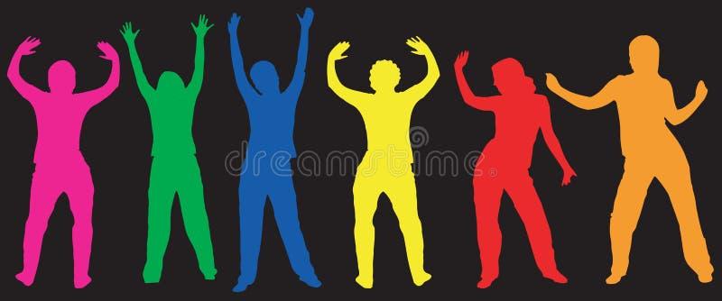 Tanzenschattenbilder stock abbildung