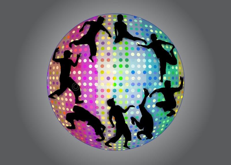 Tanzenschattenbilder im stroboskopischen Ball stock abbildung