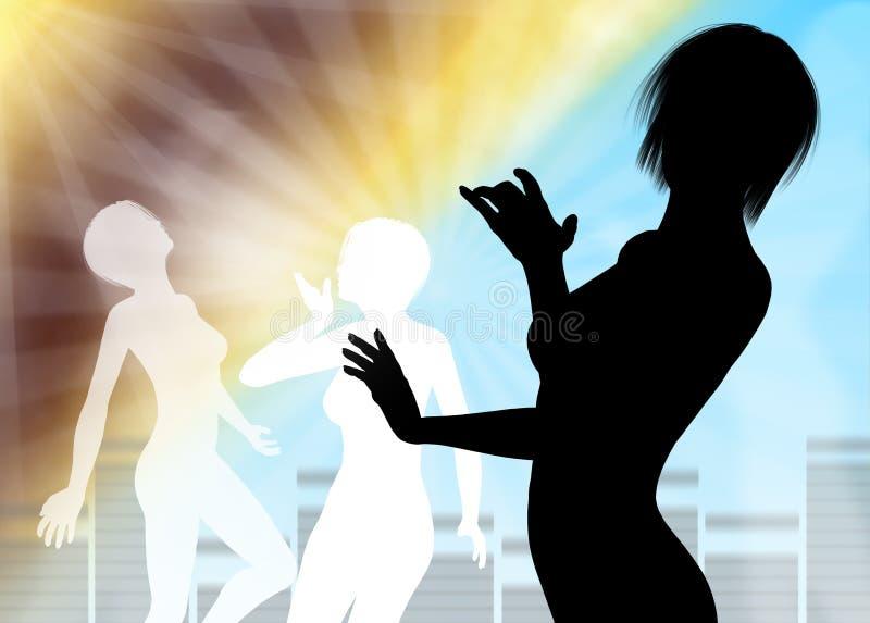 Tanzenschattenbildschablone stock abbildung