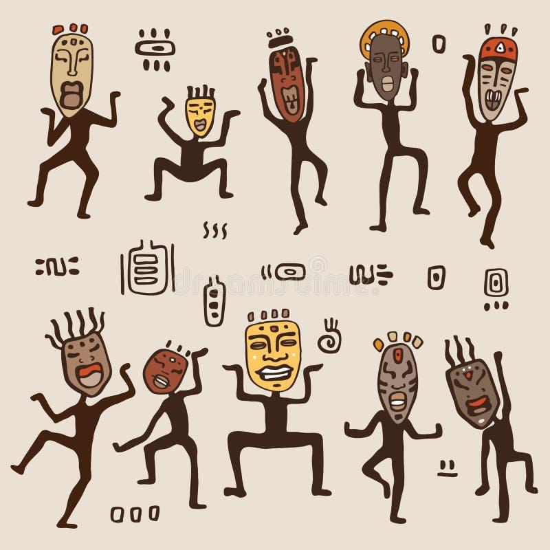 Tanzenzahlen, die afrikanische Masken tragen. stock abbildung