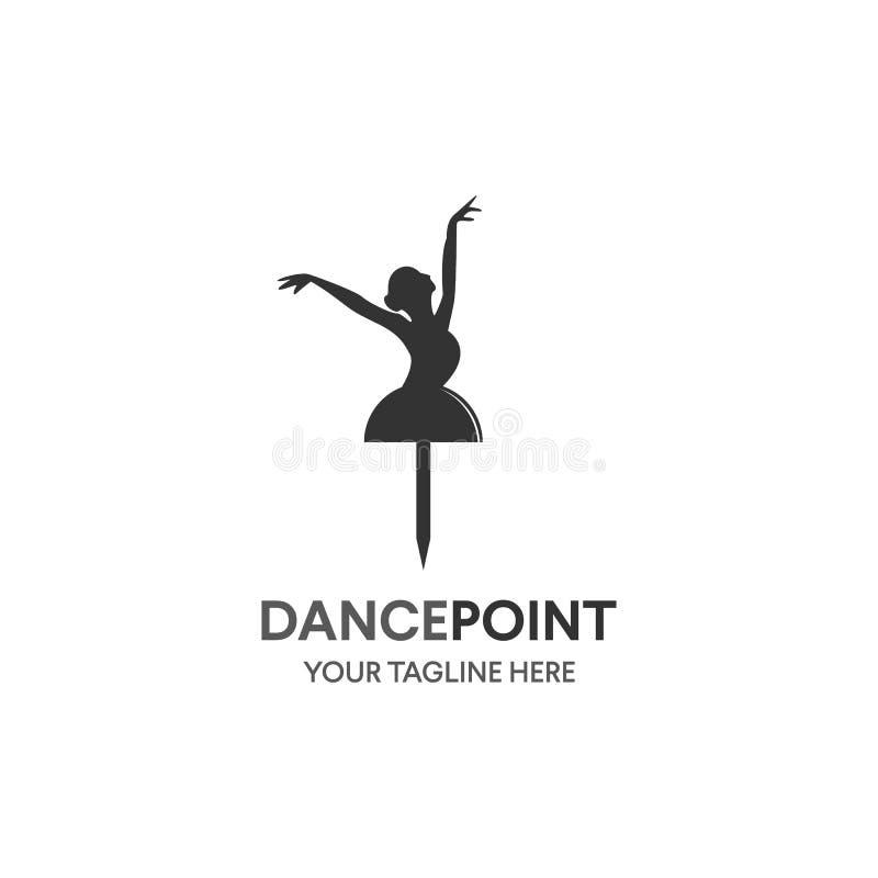 Tanzikonenkonzept Ballett-Körperstudio-Designschablone Leutecharakterlogo Eignungsklassen-Fahnenhintergrund mit Zeichensymbol von lizenzfreie abbildung