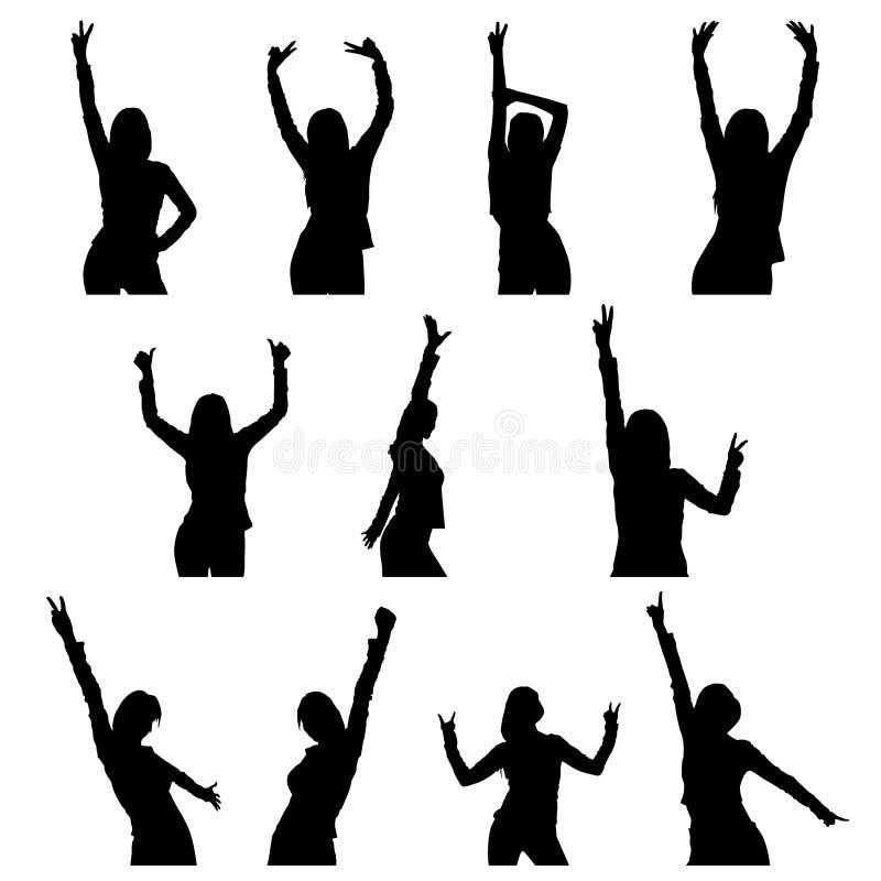 Tanzmädchenschattenbild stock abbildung