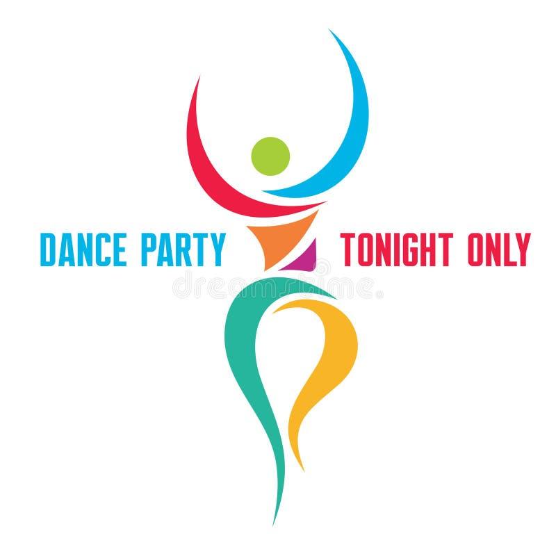 Tanzparty - kreativer Logo Sign lizenzfreie abbildung