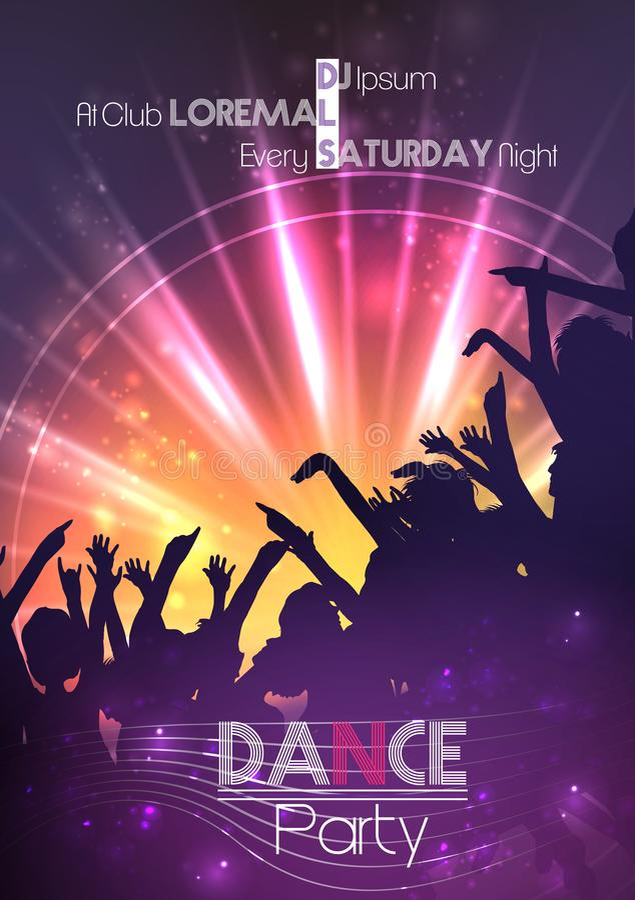 Tanzparty-Plakat-Hintergrund-Schablone - Vektor-Illustration stock abbildung