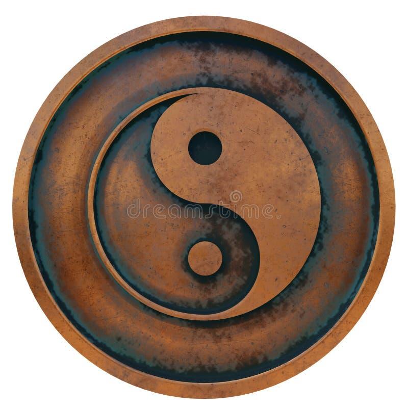 Taoïsmesymbool op het muntstuk van het kopermetaal royalty-vrije stock fotografie