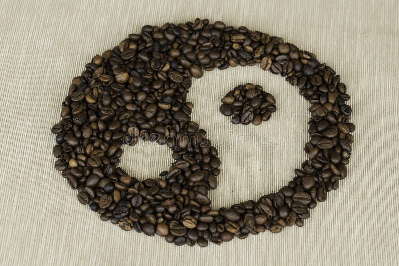Tao coffee. Tao symbol made with coffee beans stock images