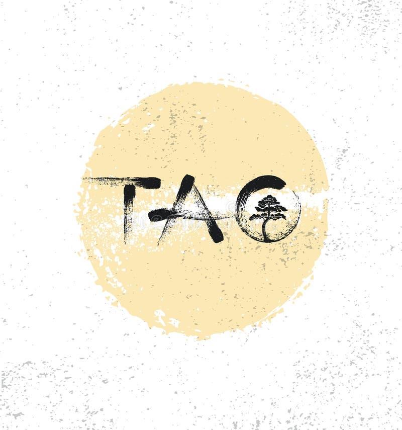 Tao Zen Meditation Retreat Sign Concept Composição criativa da rotulação da escova com ilustração da árvore ilustração stock