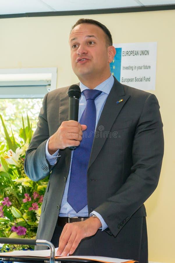 Taoiseach Leo Varadkar mówienie przy prezentacją w Dublin zdjęcie stock