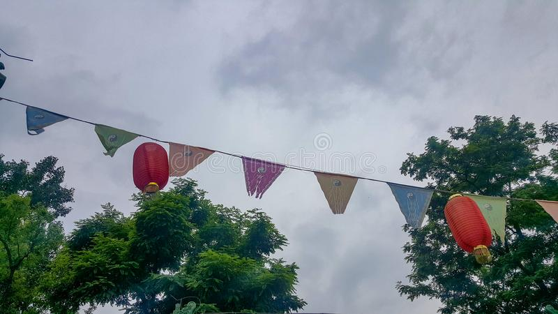 Taoism banners and Chinese red lanterns. Taoism banners and Chinese red lanterns waving in the sky stock image