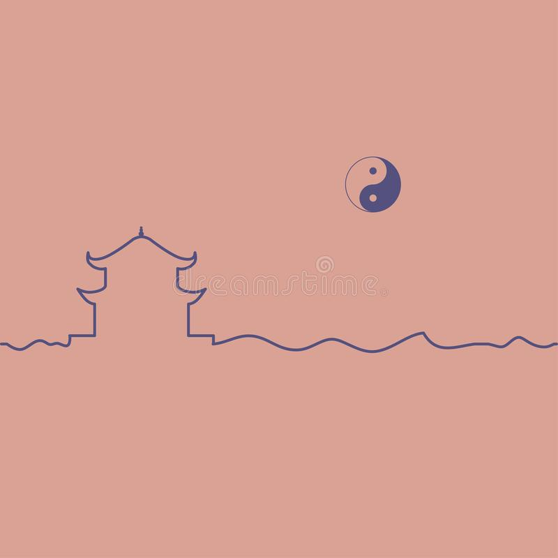 Taoism temple and yin yang symbol. stock illustration