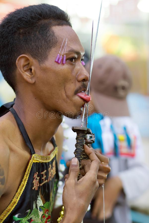 Taoist Devotee Extreme Piercing Editorial Photography - Image ...