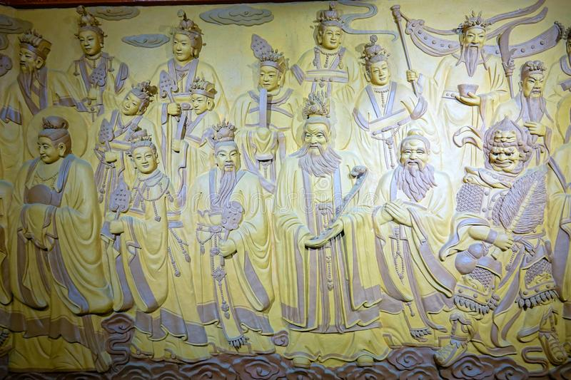 Taoist Immortals. The relief statue of Taoist Immortals in Kongtong Mountain in Gansu, China. Kongtong Mountain is a famous Taoist mountain royalty free stock images