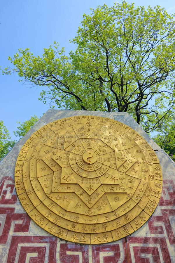 Taoist map of heaven and earth. The close-up of Taoist map of heaven and earth in Baicao Garden in Changzhi, Shanxi, China stock photos