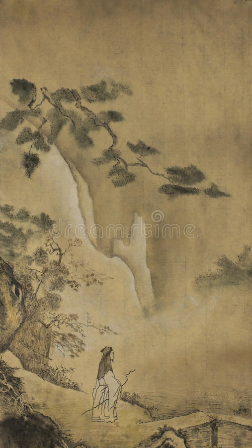 Taoist salie in de bergen stock afbeeldingen