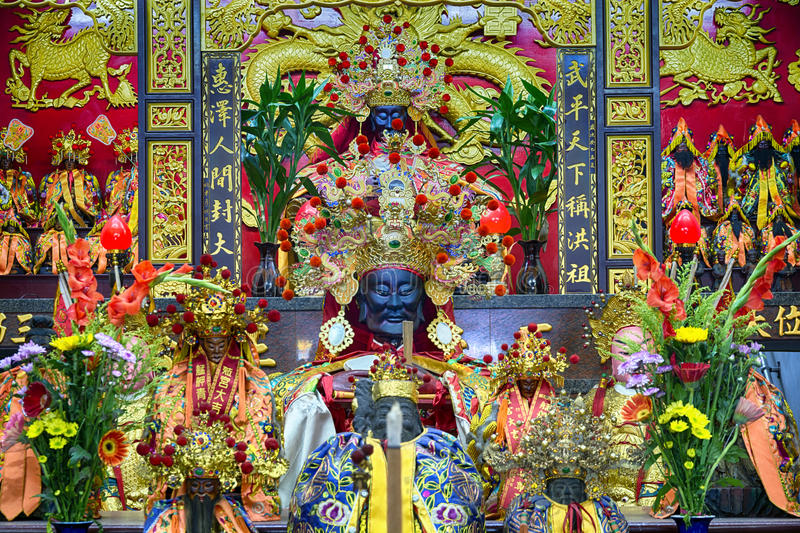 Taoist temple in Taipei - Taiwan. Altar in a Taoist temple in Taipei - Taiwan stock photos