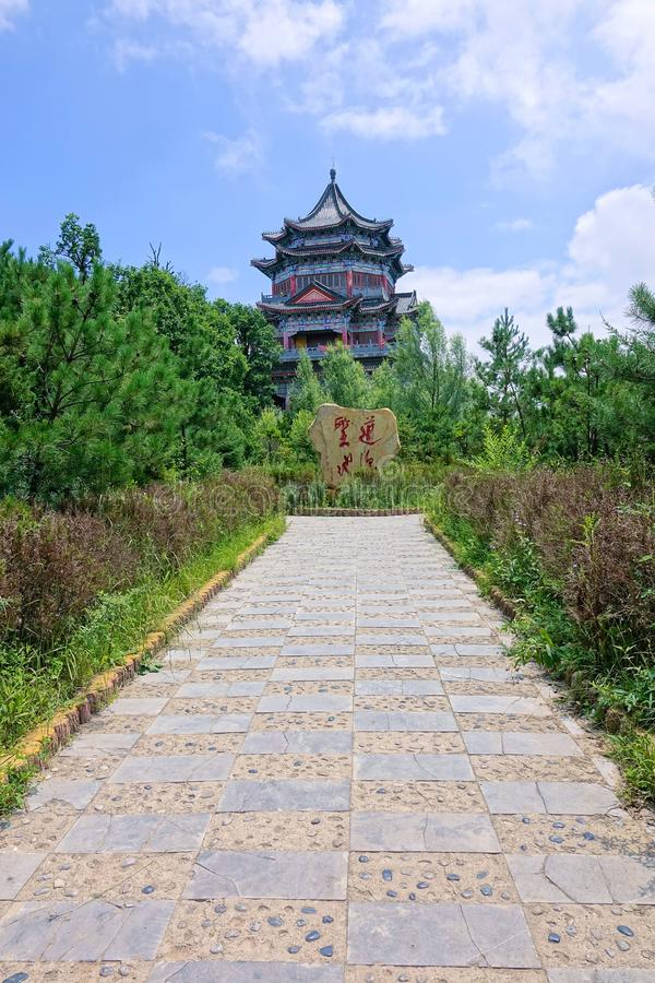 Taoist temple. The Taoist tower in Kongtong Mountain in Gansu, China stock photo
