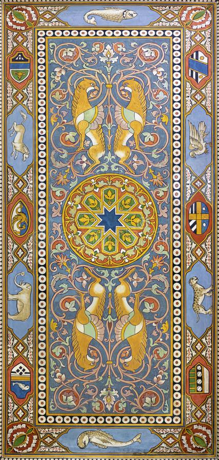 TAORMINA, ИТАЛИЯ - 9-ОЕ АПРЕЛЯ 2018: Фрески потолка от залы вокзала Giardini Naxos Salvatore Gregorietti стоковое изображение