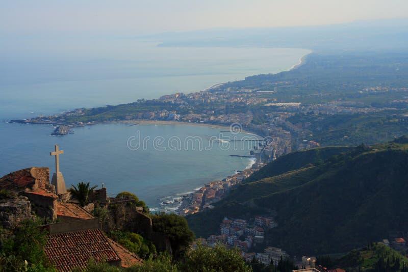 Download Taormina bay (sicily) stock image. Image of etna, high - 2384095