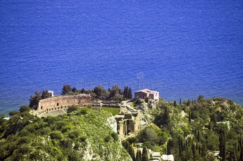 Taormina grecki amfiteatr w Sicily Włochy fotografia stock