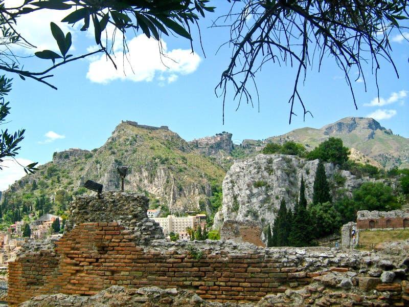 Taormina, grego Roman Theatre, Itália fotografia de stock