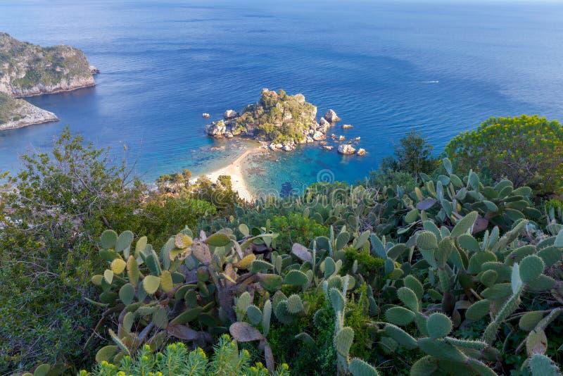 Taormina Ilha de Isola Bella fotos de stock