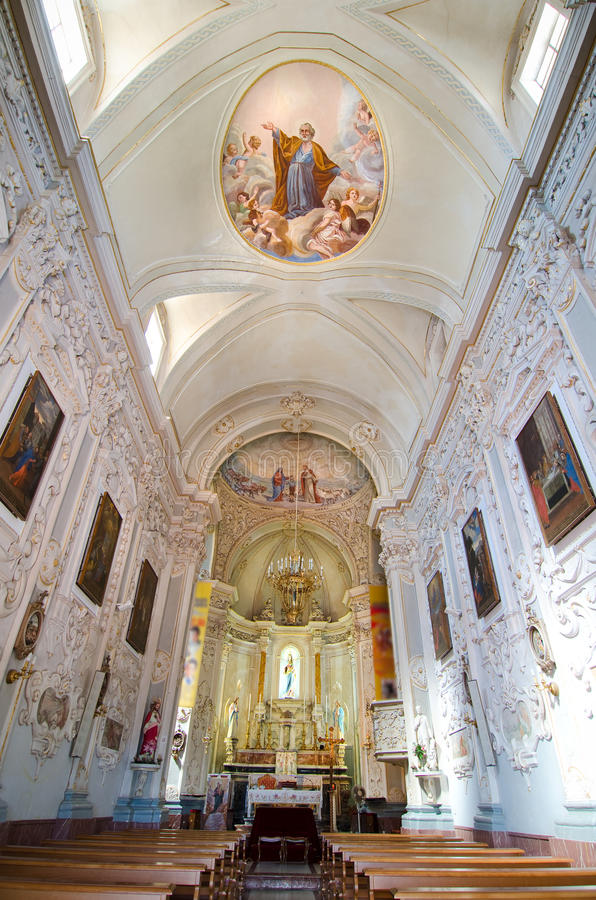 Taormina, Interior of the Church of San Giuseppe royalty free stock photography