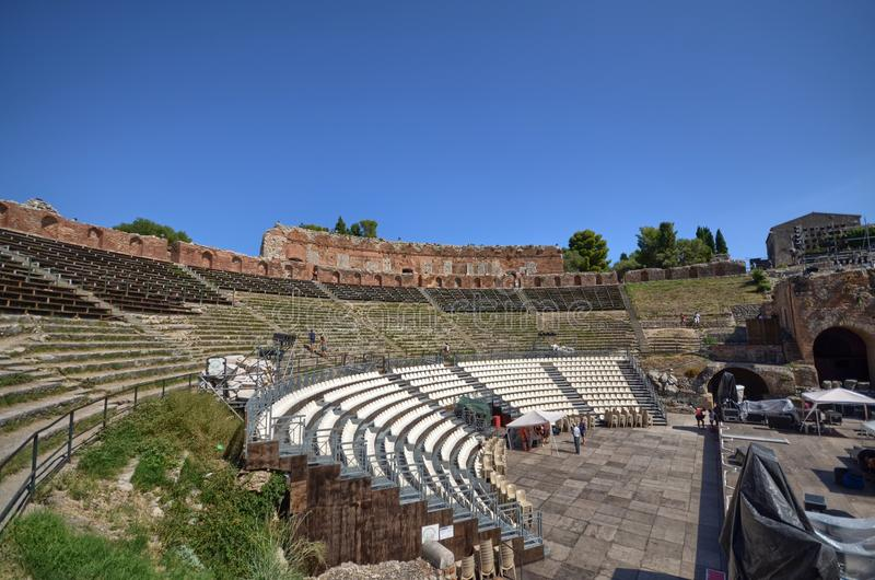 Taormina, Italië, Sicilië Het Griekse theater stock afbeelding