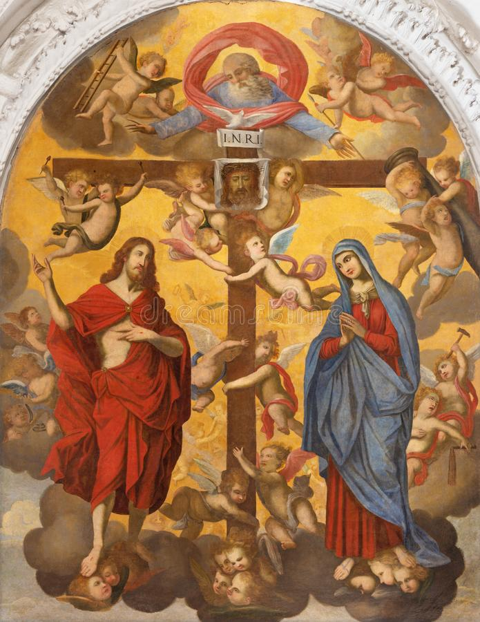 TAORMINA, ITALIA - 9 APRILE 2018: La pittura simbolica di Gesù e di vergine Maria con i corss e Dio il creatore immagine stock libera da diritti