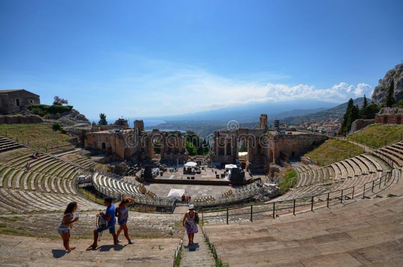 Taormina, Italie, Sicile Le théâtre grec images libres de droits