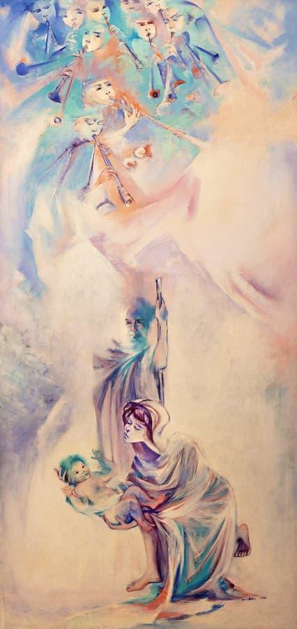 TAORMINA, ITALY - APRIL 9, 2018: The modern painting of Holy Family in church Chiesa di Santa Caterina d`Alessandria. By Nino Carnabuci 1988 royalty free stock images