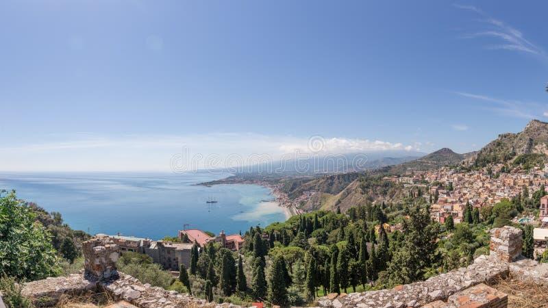 Taormina landscape stock photos