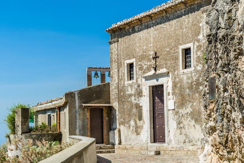 Taormina oude kerk stock afbeeldingen