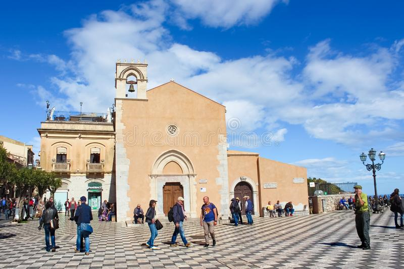 Taormina, Sicily, Italy - Apr 8th 2019: People on the main square in historical old town. Piazza IX Aprile square is a popular. Tourist attraction. Amazing royalty free stock photography