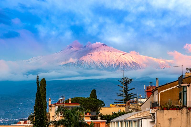 Taormina, Sicily, Italy: Panoramic view of the Etna seen over the city stock photos