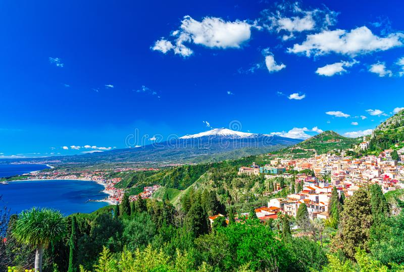 Taormina, Sicily, Italy: Panoramic view from the top of the Greek Theater, Giardini-Naxos with the Etna and Taormina stock photos