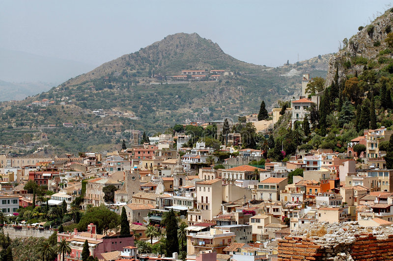 Taormina, Sicily With Mountains In Background royalty free stock photos