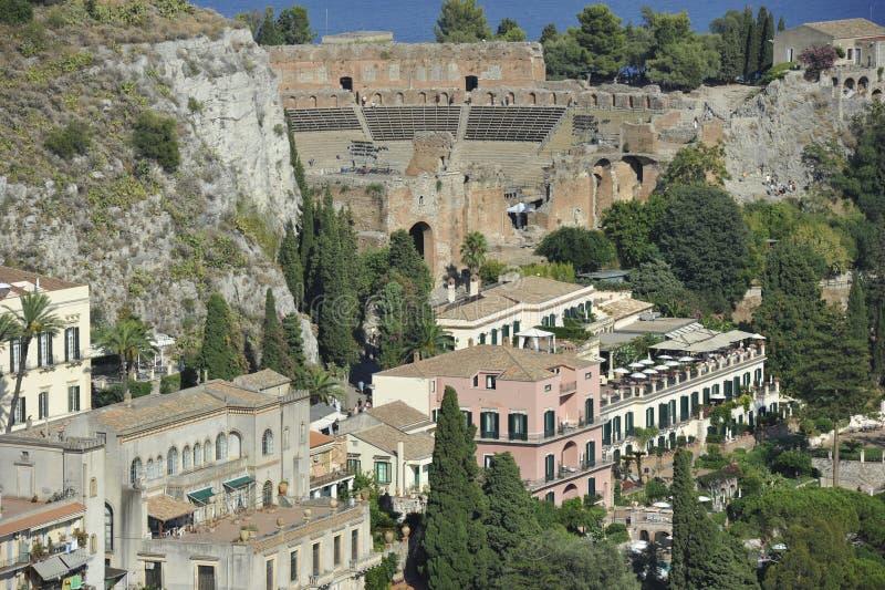 Taormina, Teatro Greco stock foto