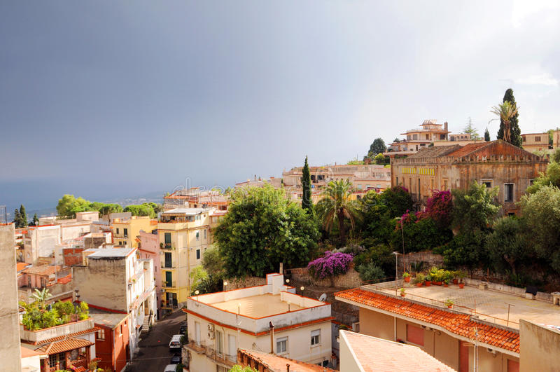 Taormina town. Aerial view of rooftops of Taormina town, Messina, Sicily, Italy