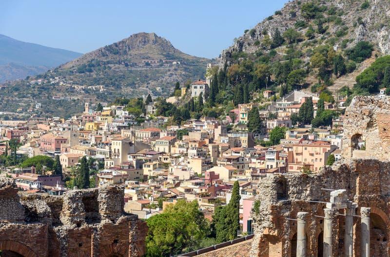 Taormina van het oude theater, Sicilië, Italië royalty-vrije stock afbeelding