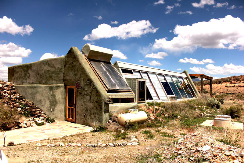 Taos Earthship stock photo