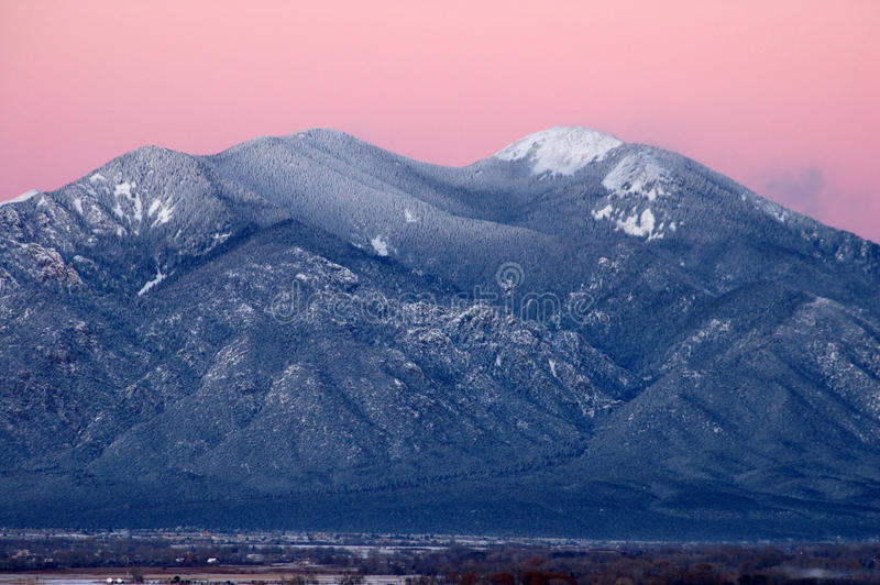 Taos Mountain After Sunset stock photos