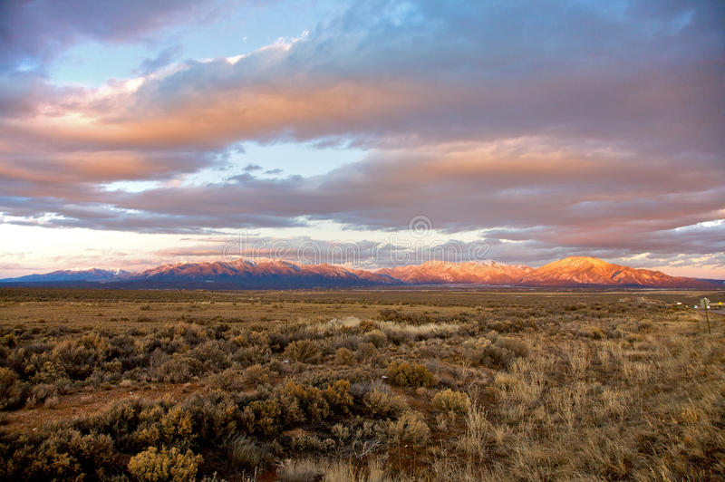 Taos Mountains at Sunset. Taos Mountains near Taos, New Mexico at Sunset royalty free stock images