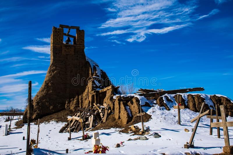 Taos Native Americans Indian Cemetery Religious Bell Tower Historic. Crosses that serve as memorial for the fallen natives that live on this land in northern stock image