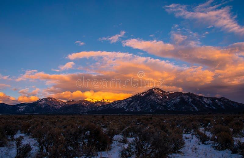 Taos New Mexico Snow covered Sangre De Cristo Range stock images