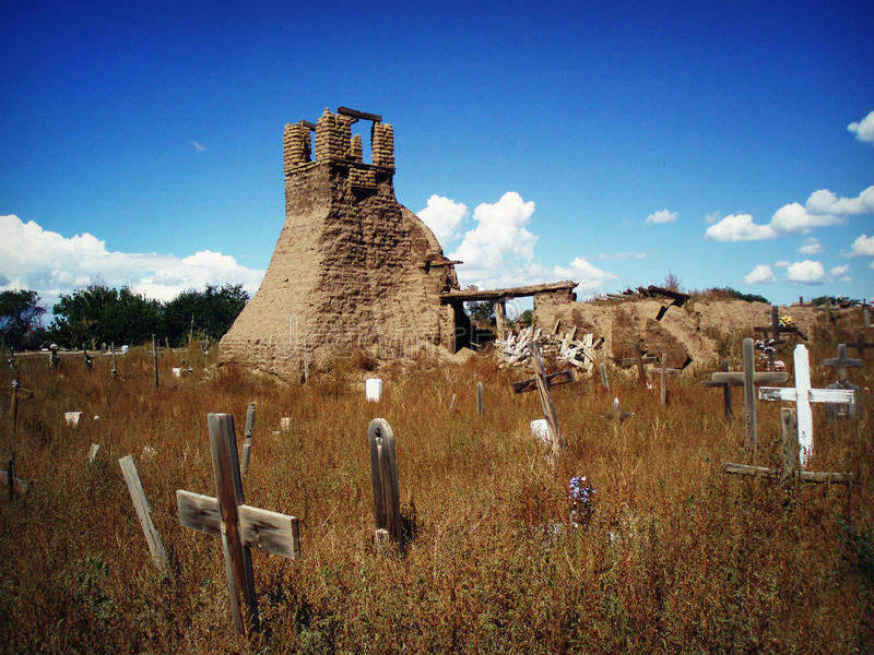 Taos Pueblo Cemetery. The ruins of an old church building and cemetery at the Taos Pueblo in New Mexico, a living Native American community located at the base stock photos