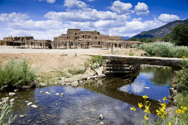 Taos Pueblo Indian reservation royalty free stock photography