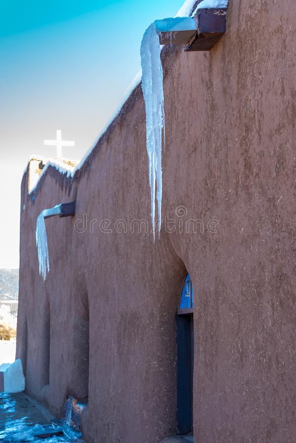 Church of San Geronimo, Taos Pueblo. TAOS PUEBLO, NEW MEXICO / UNITED STATES - NOVEMBER 19, 2015: Church of San Geronimo, repeatedly destroyed since it was first stock photography